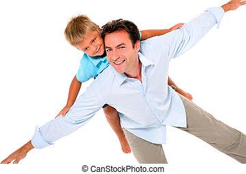 父, 背中, 息子
