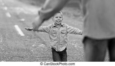 父, 自然, 息子, 歩きなさい
