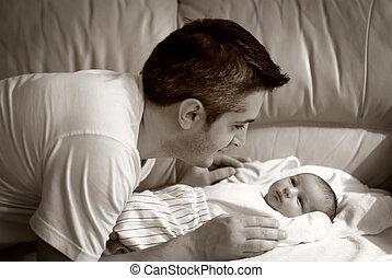 父, 色合い, セピア, 赤ん坊