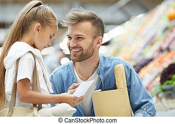 父, 若い, スーパーマーケット
