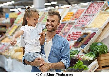父, 若い, スーパーマーケット, 幸せ