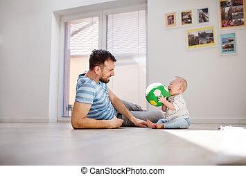 父, 若い, 不幸, 息子, 赤ん坊, home., 遊び