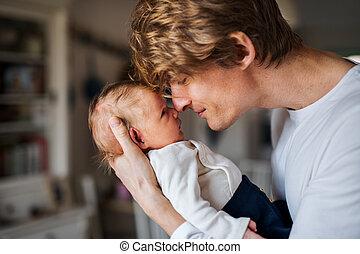 父, 若い, 息子, 生まれたての赤ん坊, home.