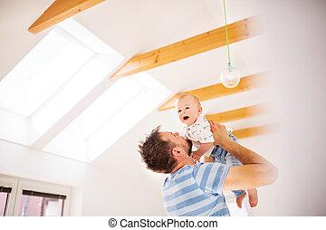 父, 若い, 息子, 赤ん坊, fun., 持つこと, 家