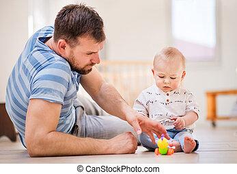 父, 若い, 息子, 赤ん坊, home., 遊び