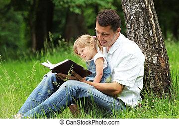 父, 読む, 聖書, 娘