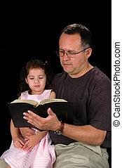 父, 読書, 娘, 聖書