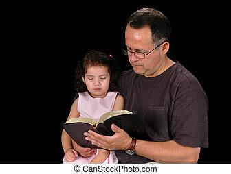 父, 読書, 聖書, へ, 娘