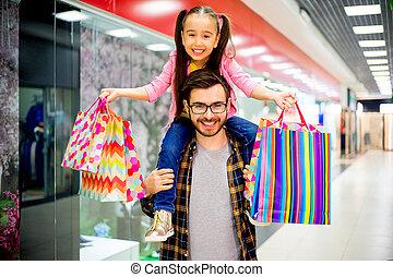 父, 買い物, 娘