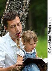 父, 赤ん坊, 聖書, 読書, 娘