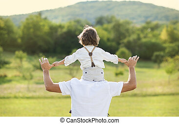 父, 遊び, 息子