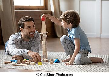 父, 遊び, room., 男生徒, 幸せ, 暮らし, 小さい
