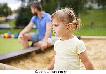父, 運動場, 子供