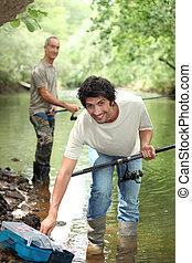 父, 釣り, 息子