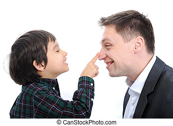 父, 鼻, 指, 息子, 遊び, 幸せ