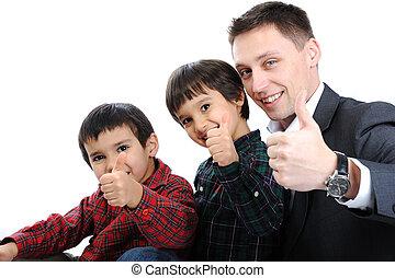 父, 2, の上, 息子, 親指, 肖像画, 幸せ