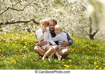 父, 2, 若い, 肖像画, 子供, 幸せ