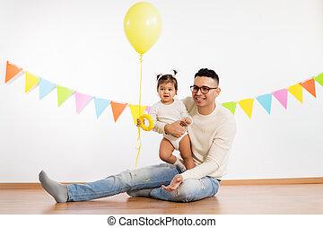 父, balloon, birthday, 娘, パーティー