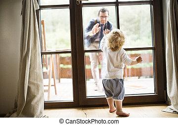 父, home., 若い, 去ること