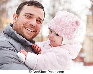 父, outdoors., 彼の, 娘, 冬