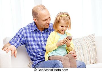 父, smartphone, 娘, 幸せ