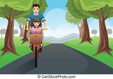 爸爸, 女儿, 騎車, 一起