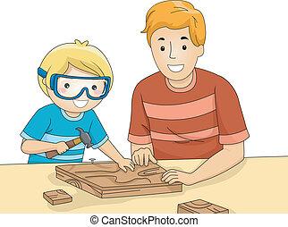 爸爸, 木製品, 兒子