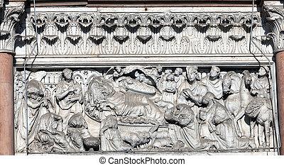 牆壁裝潢物, ......的, 大教堂, ......的, 圣馬丁, 在, lucca, italy