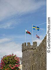 牆壁, 古老, 鎮, tenby, uk., 南方威爾士