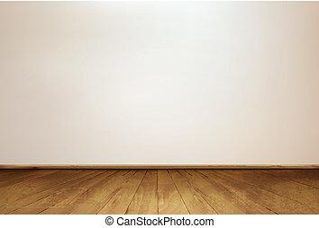牆, 以及, a, 木制, floor., vector.