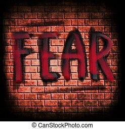 牆, 懼怕, 概念, grunge, 磚