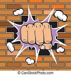 牆, 撞擊, 象征, 抓住握緊