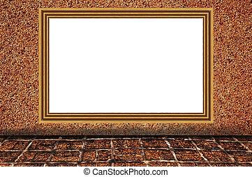 牆, 照片框架, 木制, 沙子, 背景