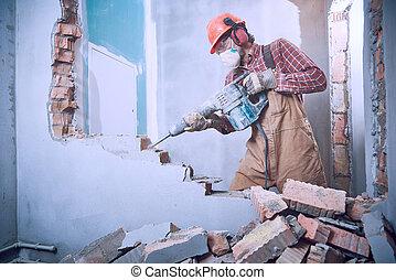 牆, 錘子, 打破, 工人, 內部, 爆破
