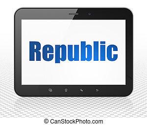 片劑, 政治, 個人電腦, 電腦, 共和國, 顯示,  concept: