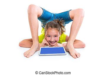 片劑, 認為, 個人電腦, contortionist, 女孩, 姿態, 孩子