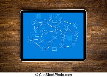 片劑, 電腦, 由于, 社會, 网絡, 上, a, 屏幕, 在桌子上