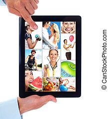 片劑, computer., health., 人們, lifestyle.