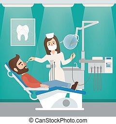 牙醫, 內閣, 內部, 由于, 醫生, 病人, 牙齒的工具, 以及, 椅子