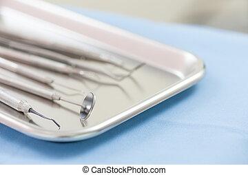牙齒的儀器, 集合, 在, 門診部