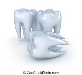 牙齒, 在懷特上, 背景。, 3d, 圖像