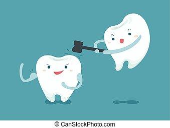 牙齒, 敲擊, 牙齒, 不過, 是, 強有力