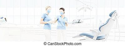 牙齒, 門診部, 內部, 由于, 醫生, 弄污背景, 為, 模仿空間, 樣板