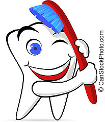 牙齿, 同时,, 刷子
