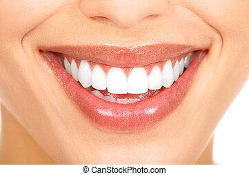 牙齿, 同时,, 微笑