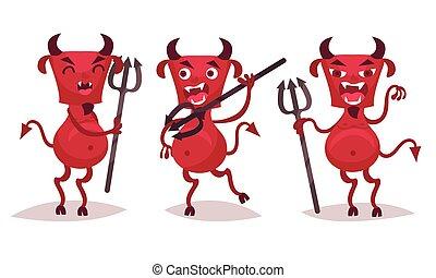 牙, セット, ひげ, わずかしか, 角, 悪魔, ベクトル, 赤