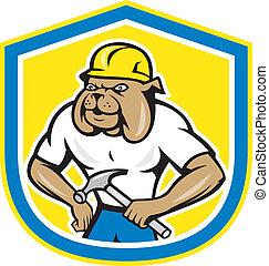 牛头犬, 工人, 建设, 握住, 锤子, 卡通漫画
