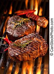 牛排, 烤架, 牛肉