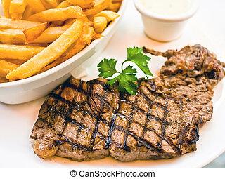 牛肉, 水分が多い, ステーキ, 肉