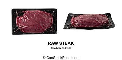 牛肉, 隔離された, プラスチック, 黒, 真空, 新たに, ステーキ, パック